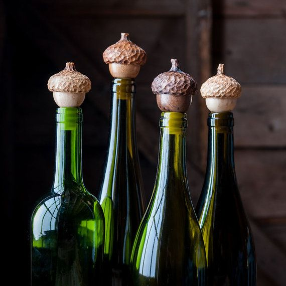 Two Acorn Wine Stops, Set of TWO Bottle Stoppers, Hostess Gift,  Wine Toppers, Gift under 30