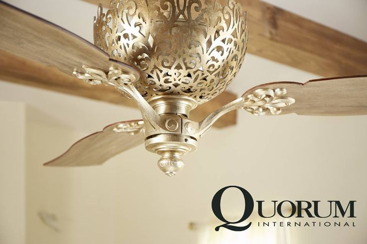 An intricately woven filigree of vintage gold leaf or aged silver leaf provides for a stunning fan housing. Ornate, without being overbearing, this ceiling fan brings a taste of intriguing elegance to any decor. The Le Monde ceiling fan has matching lighting fixtures available in the Quorum International lighting catalog.