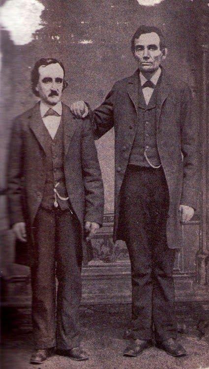 Edgar Allan Poe poses with Abraham Lincoln in Mathew Brady's Washington, D.C. studio [February 4th, 1849]