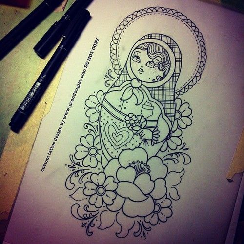 Matryoshka And Flowers Outline Tattoo Desgin