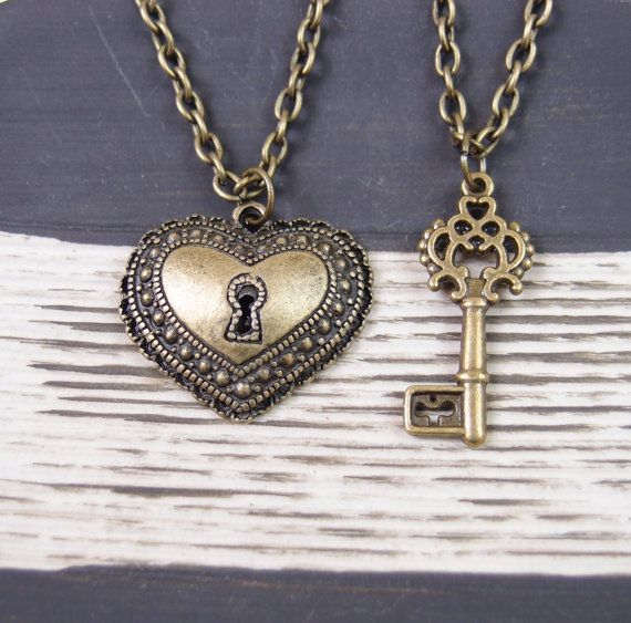 2 bronce llave collares, collar de amigo mejor 2, clave para mi corazón, collar, collares de la amistad, de pareja, su y la suya joyería