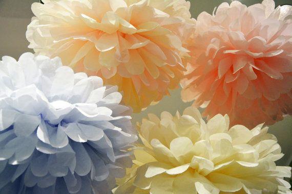 12 Tissue Paper Pom Poms  Any Color  Wedding Pom by pompom4you