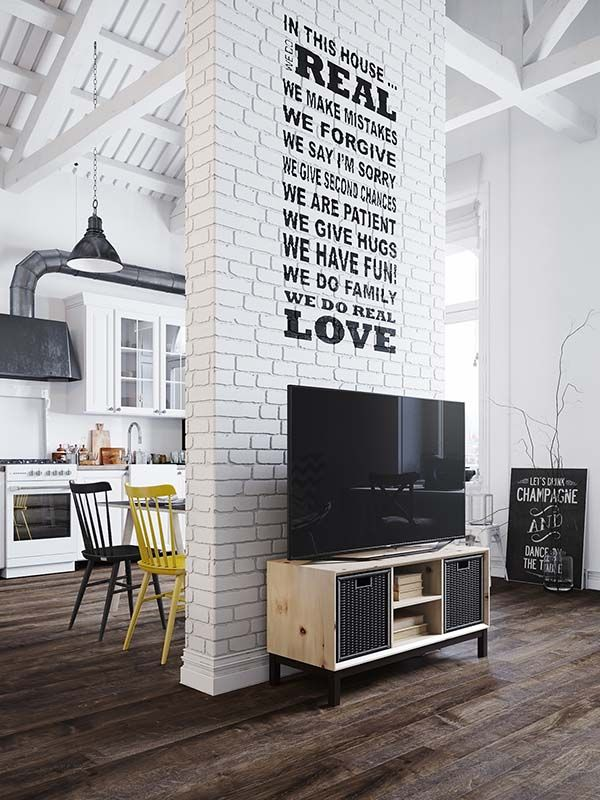Fascinating Scandinavian style loft apartment in Prague | Great saying on Brick Wall!