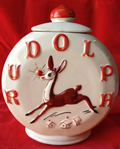 "RARE Antique Vintage American Bisque ""Rudolph"" cookie jar - I collect vintage Rudolph Reindeer and I am so lucky to own one of these!"
