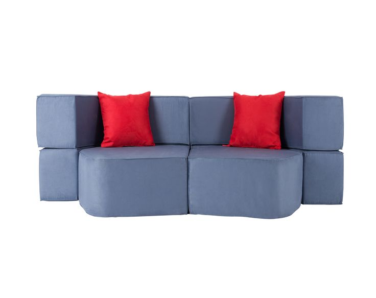 Muffin Modular Sofa / Colour: Blackcurrant. Pillows / Colour: Strawberry #modular #sofa #sofabed #extensible #cool #comfort #creative #foam #colourful #young