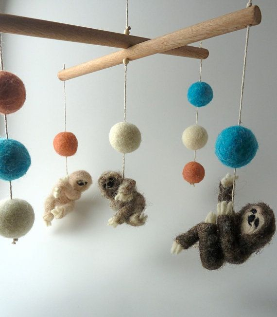 I love this more than words - Baby Mobile Felted Wooly Sloths Custom made by sheepcreeknc