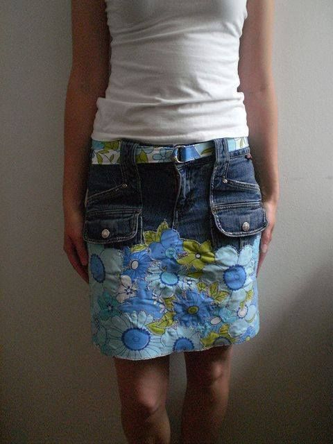 Add print material to old jeans to create cute skirt! Here You see an overlaid vintage sheet over top part of jeans and made a matching belt!