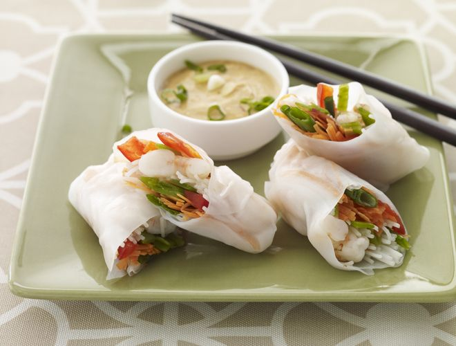 ... to these rice noodle summer rolls filled with shrimp and vegetables