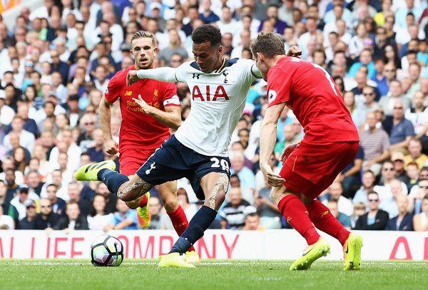 Tottenham 1 Liverpool 1 in Aug 2016 at White Hart Lane. Dele Alli shoots for goal #Prem