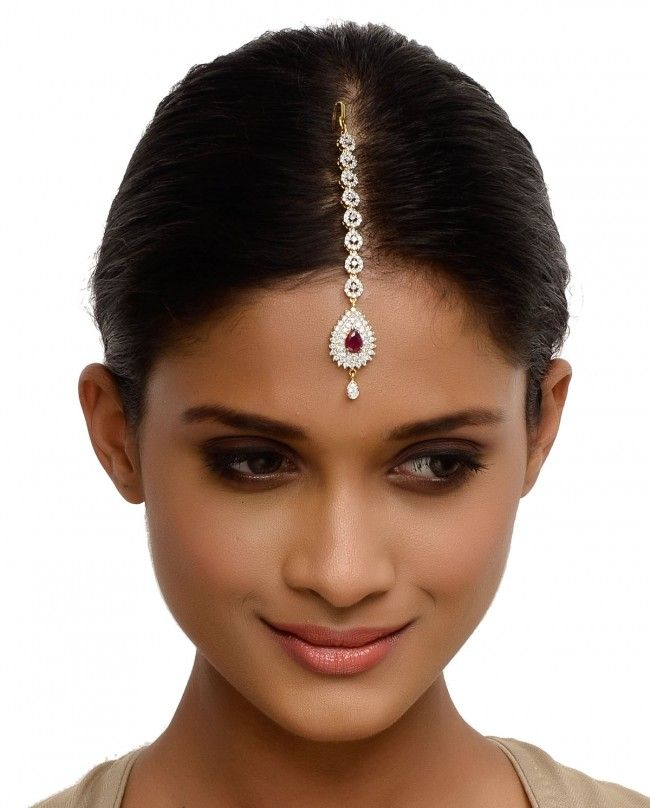 Crystal Maang Tikka with Pink Stone - Head Piece & Maang Tikka - Accessories