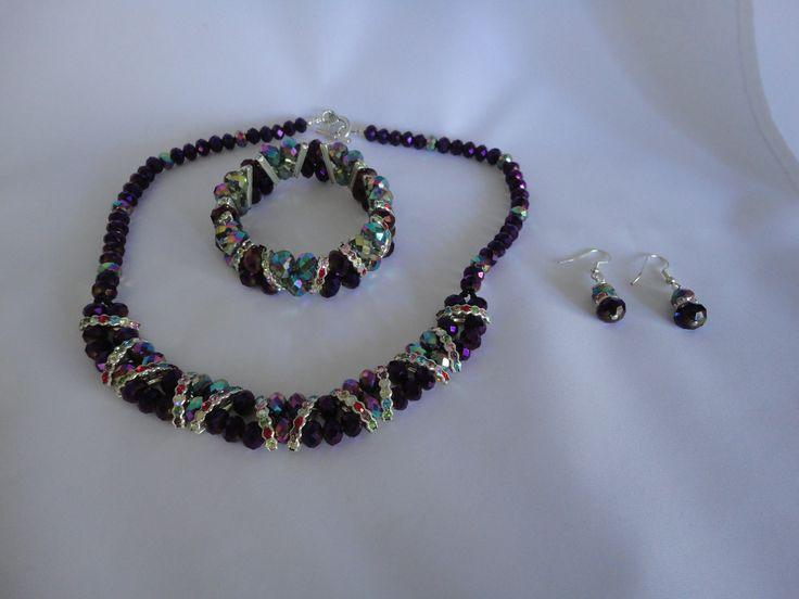 Purple Pure Elegance necklace, bracelet and earring set