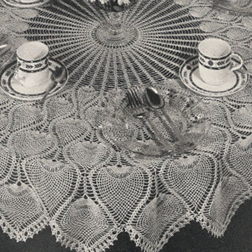 Awesome Round Crochet Pineapple Tablecloth With Wheel Center Pattern And Scalloped  Border L Vintage Knit Crochet Pattern