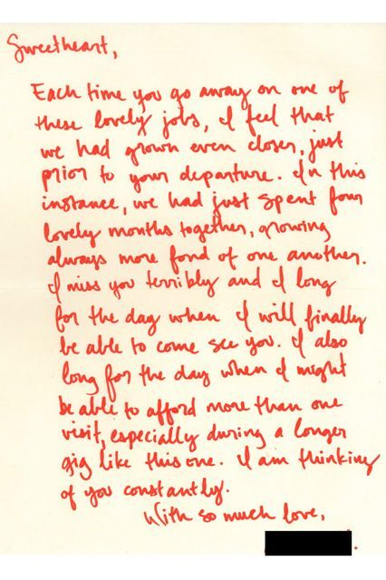 """16 Beautiful Love Letters Found In Used Books #refinery29  http://www.refinery29.com/2015/02/82093/the-strand-love-letters-found#slide-13  """"I miss you terribly and I long for the day when I will finally be able to come see you. I also long for the day when I might be able to afford more than one visit, especially during a longer gig like this one. I am thinking about you constantly."""""""