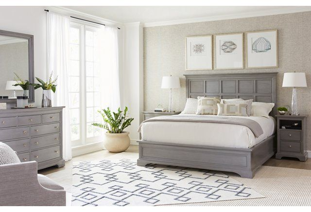 Transitional Panel Bed, Gray
