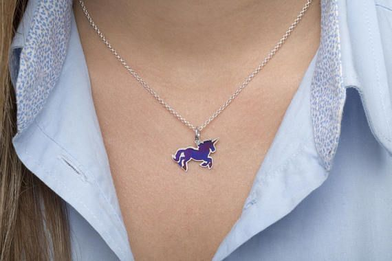 Unicorn necklace tiny charm horse necklace sterling silver