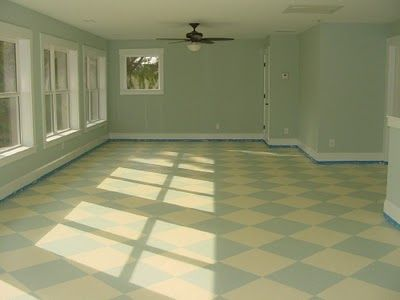 Painting your subfloors - cute!