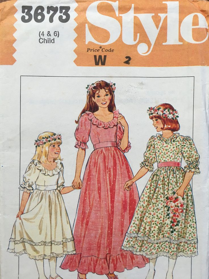 Sweet Girls Toddlers early 1980s Style 3673 Vintage Sewing Pattern Flower Girl, Party Dress Size 4 and 6 by weseatree on Etsy