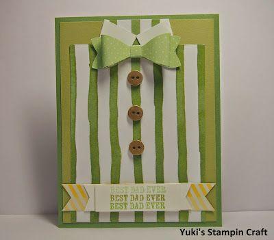 スタンピンアップ ボー・ビルダー・パンチで蝶ネクタイの父の日カード! Father's Day card using Bow Builder Punch, Stampin' Up!