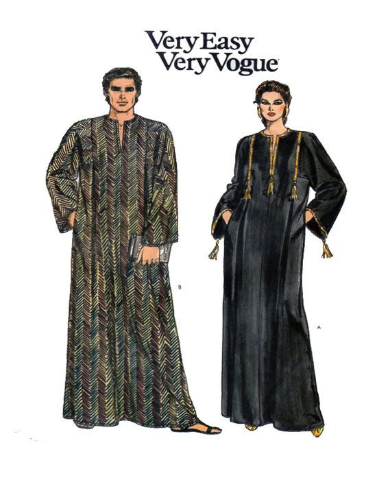 Caftan, Lounge/Hostess Outfit Vogue 8474 Pull-over Maxi Length Tunic Style KeyHole Neckline Long Sleeves Multi Size X-Small to Medium by FindCraftyPatterns on Etsy