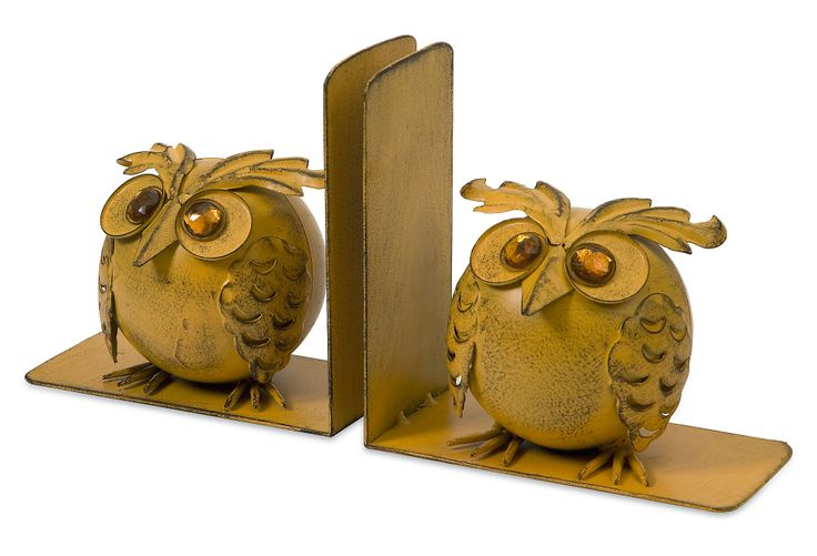 Pair of Viola Owl Bookends, Yellow | Spring Steals | One Kings Lane