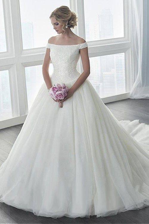 A-line Off Shoulder Chapel Train Chiffon Wedding Dress Beading