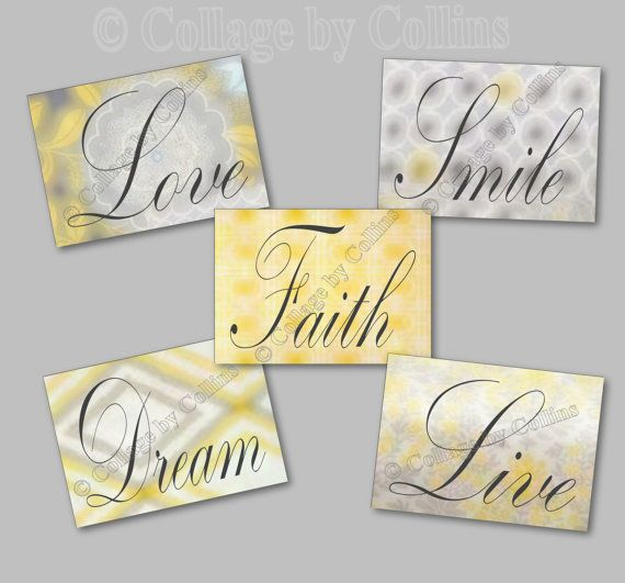"""Yellow Gray Wall Art Decor Inspiration Word by collagebycollins, FIVE (5)  Love Faith Dream Live Smile  5x7 digital photographic prints  digital design watercolor """"illusion""""  Quote Art Girl Room Wall Decor, office, nursery, girls room, bathroom, office, teen"""