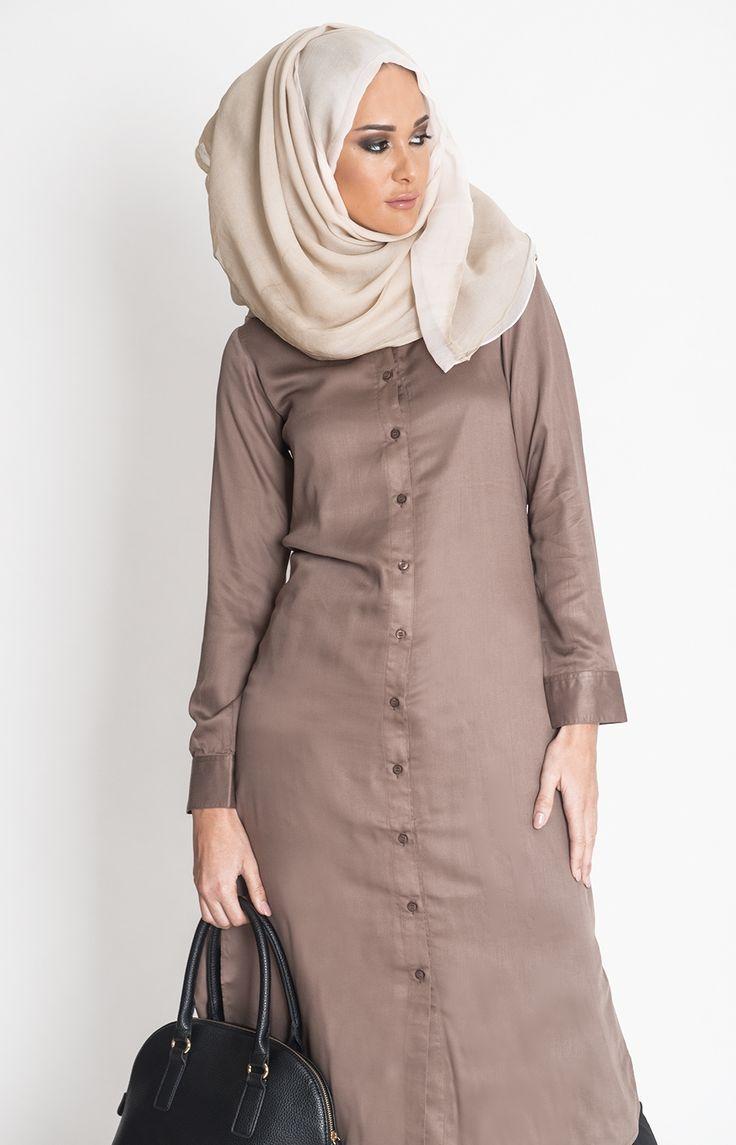 Coffee Shirt Dress #Aab #Style #Fashion #WomensWear #WomensFashion #Abaya #Hijab http://www.aabcollection.com/shop/product/coffee-shirt-dress/723#