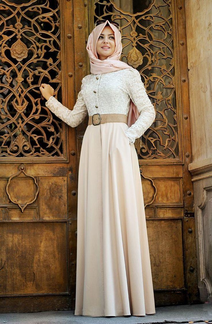 Pınar Şems - Güpürlü Cepli Kot Elbise Somon