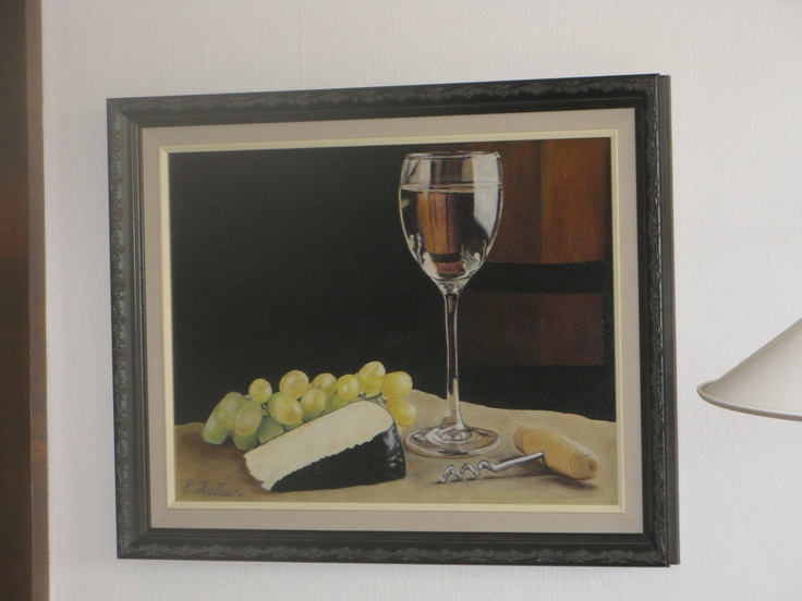 """I copied this image off a calendar page at an art studio I was painting at. Oil on canvas. """"Glass of Wine in Cellar""""."""