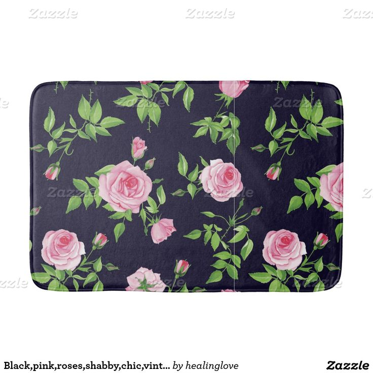 Black,pink,roses,shabby,chic,vintage,victorian,fun Bath Mats