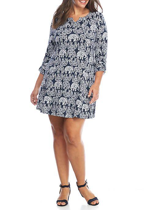 Crown & Ivy™ Plus Size Roll Sleeve Swing Knit Dress