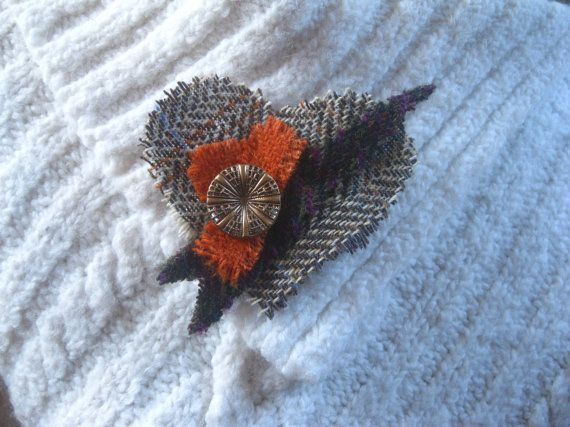 Harris Tweed Valentine heart brooch by KnitwitDesignsUK on Etsy, £15.00