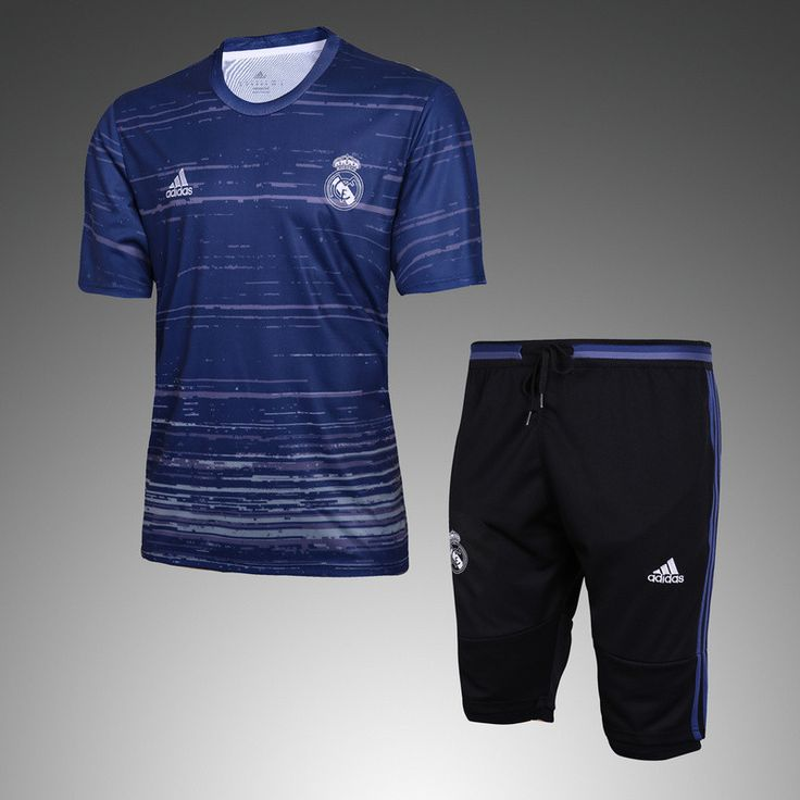 Real Madrid 2016/17 Print Blue Men Short Sleeve Tracksuit Slim Fit