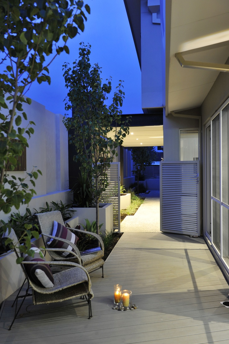 Display home alfresco at night.