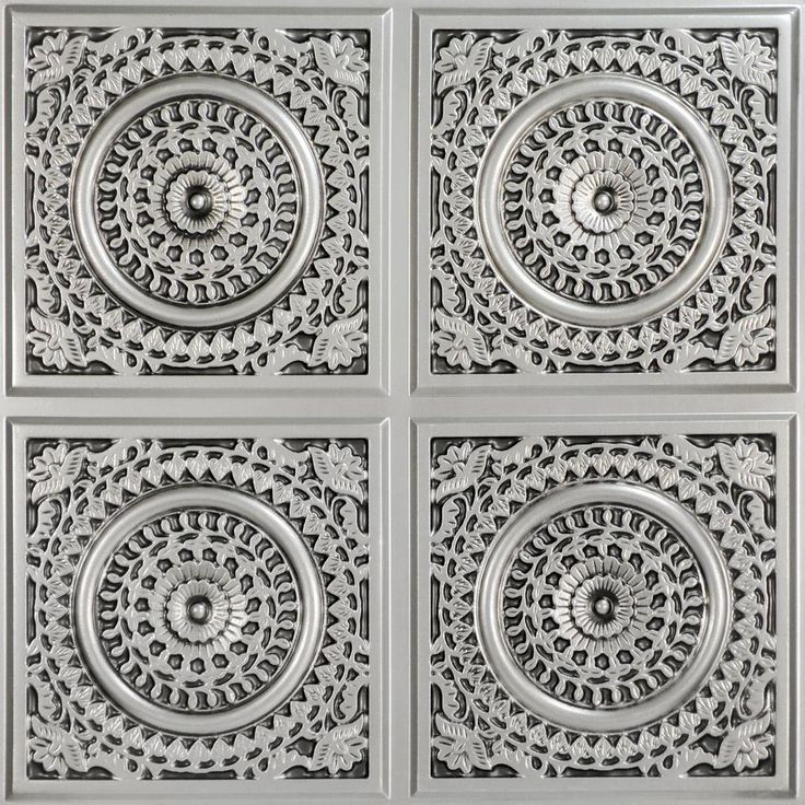 null Grandma's Doilies Quartet 2 ft. x 2 ft. PVC Glue-up Ceiling Panel in Antique Silver (100 sq. ft. / case)