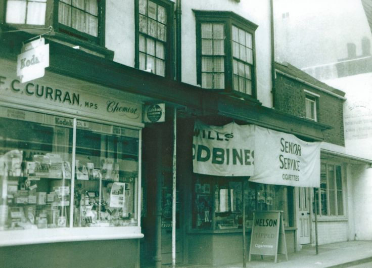 F C Curran the Chemist, The lower end of the High Street Seaford. ( Picture by courtesy of Seaford Museum )