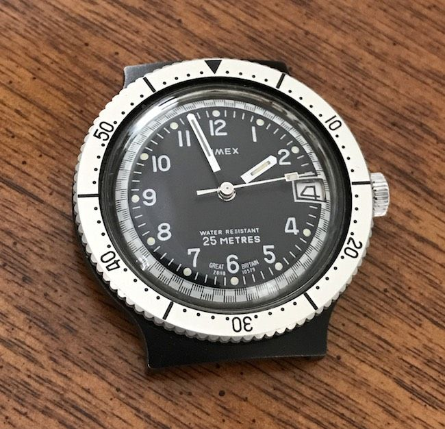 Rare Black/Silver Timex British Diver Watch