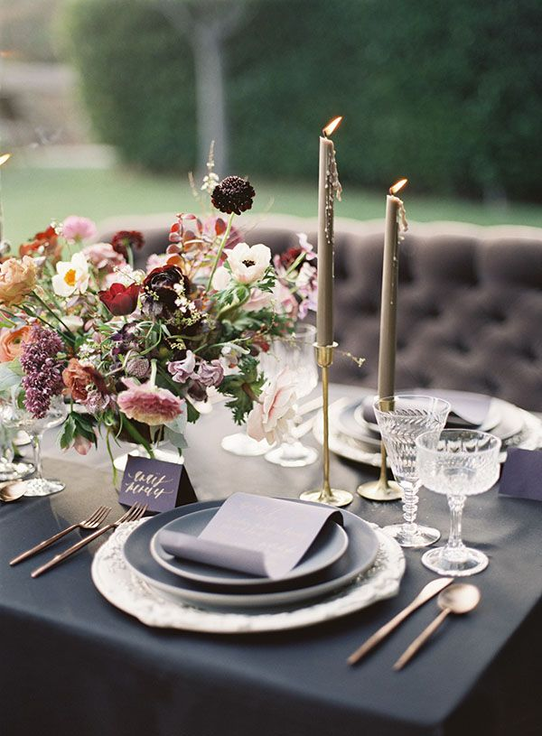 Chic Sweetheart Table in Purple, Champagne, and Gray | Michael Radford Photography | http://heyweddinglady.com/regal-purple-gold-champagne-wedding-palette/