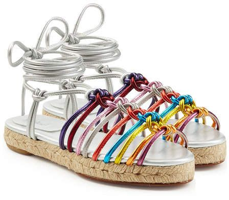 """Chloé Metallic Leather Braided Sandals. With a candy-colored mix of bright metallic hues, the """"Jasmine"""" sandals from Chloé are an uplifting choice for accessorizing. #ad #ShopStyle #stylebop #fashion #style #shoes"""