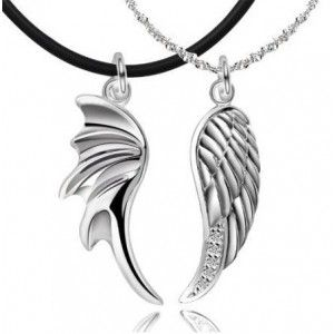 Pair of Angel Wings 925 Solid Sterling Silver Pendant White Gold Plated