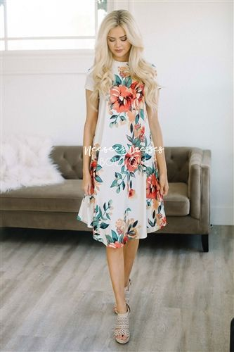 Ivory Tropical Floral Swing Modest Dress Bridesmaids Dress, Church Dresses, dresses for church, modest bridesmaids dresses, trendy modest dresses, modest womens clothing, affordable boutique dresses, cute modest dresses, mikarose, best modest boutique