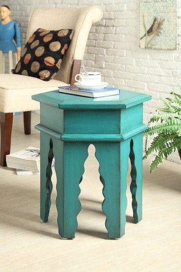 Moroccan Hexagon Stool/Table - Aqua on HauteLook
