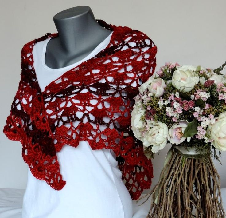 Scarf, shawl, red scarf, red shawl by ColorfullmadeShop on Etsy