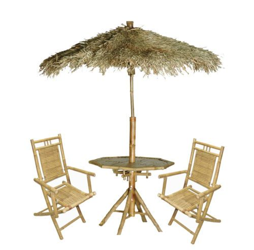 Bamboo Palapa Set With Two Chairs Table And Thatched Umbrella Tiki Bar Ebay