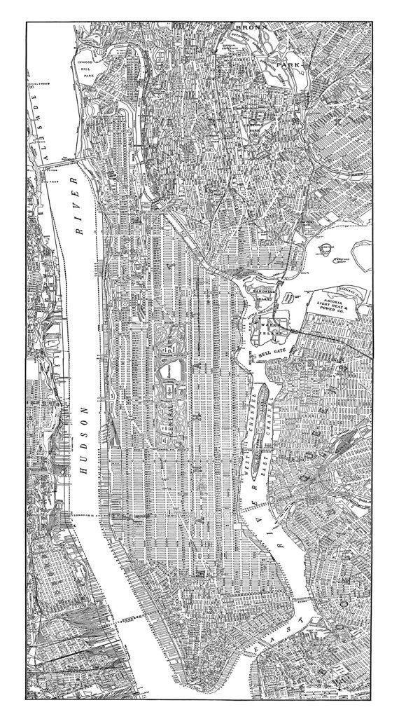 New York City Map 1938 New York City Manhattan Street Map Vintage 18x36 Print Poster on Etsy, $29.95