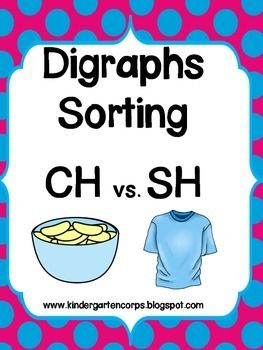 FREE - Digraphs : ch verses sh - Kids cut, paste, and sort colorful digraph images for ch and compare them to sh.