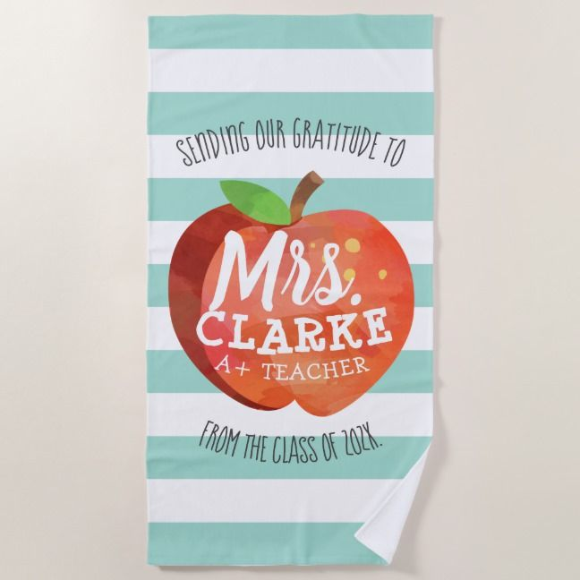 Teacher S Apple Customized Name Thank You Beach Towel Zazzle