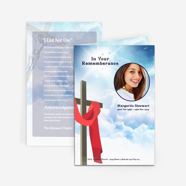 ' Cross in Clouds' Funeral Card Template for download. Check out more of our printable funeral cards at https://www.funeralpamphlets.com