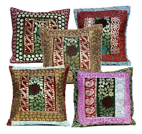5 Multi Embroidery Sequin Work Indian Sari Throw Pillow Cushion Covers Krishna Mart India http://www.amazon.com/dp/B011RNRR5O/ref=cm_sw_r_pi_dp_TCaywb1KH5E2B