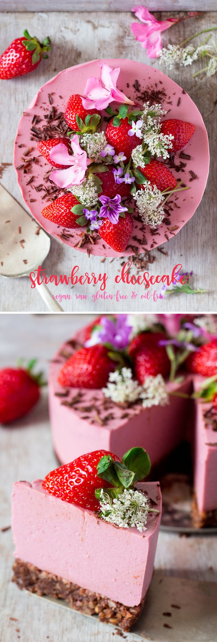 #strawberry #cheesecake that is #easy and quick to make and requires fewer than 10 ingredients. It's #light and #creamy yet #raw #vegan #glutenfree and #oilfree too. #dessert #cake #recipe #recipes #vegetarian #aquafaba #agar